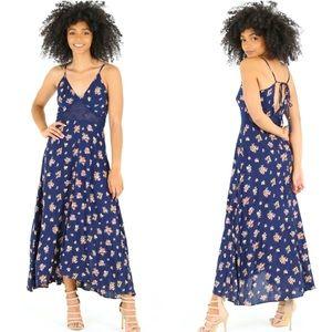 Blue Floral Mesh Detail Back Tie Midi Dress